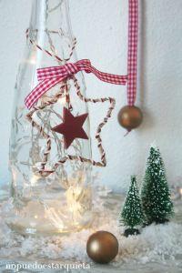 Adorno diy de navidad. Colgante estrella para árbol de navidad.