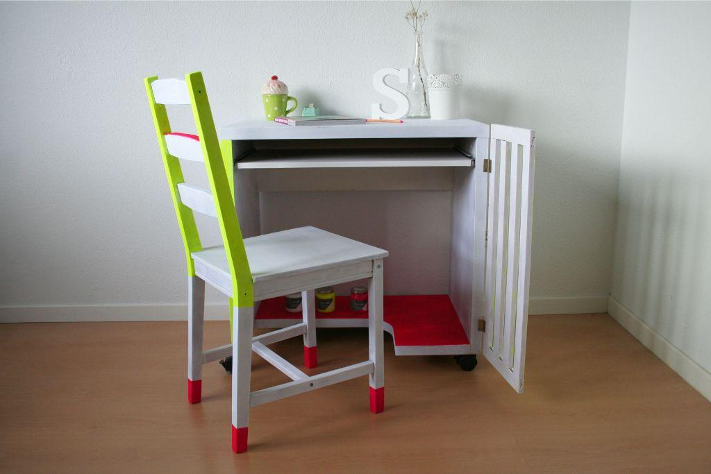 Escritorio reformado con pintura Fluor Paint La Pajarita. Fluor furniture. Muebles fluor. Desafío Handbox