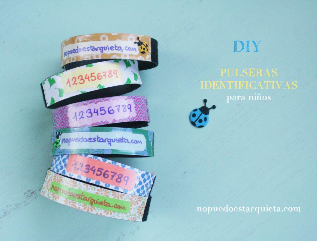 Cómo hacer pulseras identificativas para niños. Diy. Pulseras de velcro con teléfono para niños.