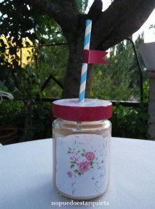 Vaso diy con tarro de cristal. Handmade. Smoothie.